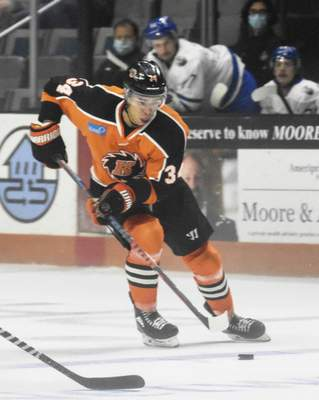 Michelle Davies | The Journal Gazette  Stephen Harper, who had been in camp with the American Hockey League's Chicago Wolves, has been assigned to the Komets.