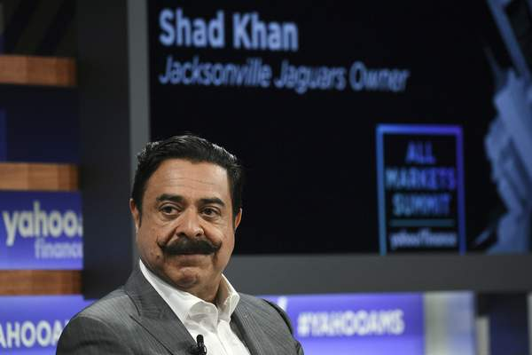FILE - In this Oct. 10, 2019, file photo, Jacksonville Jaguars owner Shad Khan participates in the Yahoo Finance All Markets Summit at Union West in New York. Current or former players, along with people in positions of leadership with NFL clubs, have offered differing opinions this week on how pervasive the sorts of racist, homophobic and misogynistic thoughts expressed by Jon Gruden -- in emails he wrote from 2011-18, when he was an ESPN analyst between coaching jobs, to then-Washington club executive Bruce Allen †remain around the sport to this day. (Photo by Evan Agostini/Invision/AP, File)
