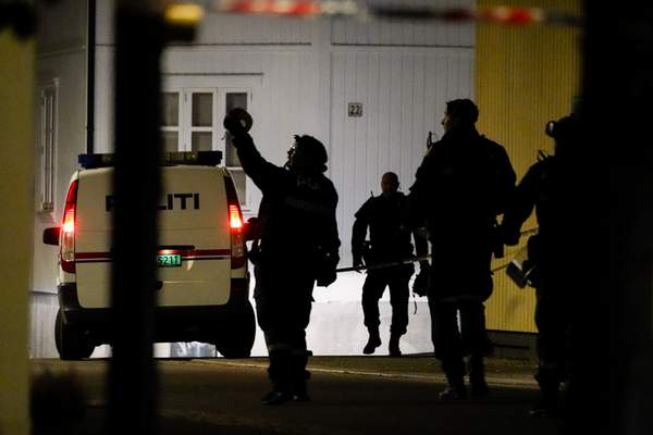 Police at the scene after an attack in Kongsberg, Norway, Wednesday, Oct. 13, 2021. (Hakon Mosvold Larsen/NTB Scanpix via AP)