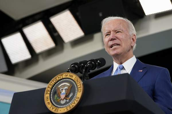 FILE - In this Oct. 8, 2021, file photo President Joe Biden speaks about the September jobs report from the South Court Auditorium on the White House campus in Washington. (AP Photo/Susan Walsh, File)