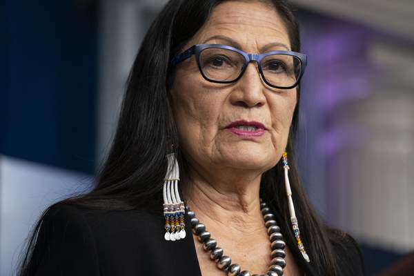 FILE - In this April 23, 2021, file photo, Interior Secretary Deb Haaland speaks during a news briefing at the White House in Washington. (AP Photo/Evan Vucci, File)