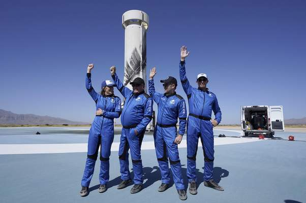 """Associated Press The latest passengers of Blue Origin's New Shepard rocket, from left, Audrey Powers, William Shatner, Chris Boshuizen and Glen de Vries greet the news media Wednesday at the spaceport near Van Horn, Texas. Shatner, the 90-year-old """"Star Trek"""" star, and three fellow passengers hurtled to an altitude of 66.5 miles over the West Texas desert in the fully automated capsule, then safely parachuted back to Earth in a flight lasting just over 10 minutes."""