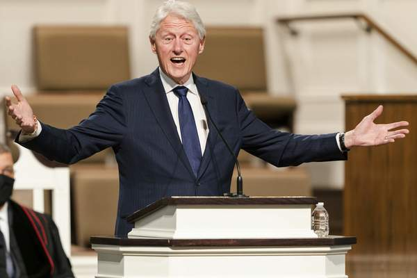 FILE - In this Jan. 27, 2021, file photo, former President Bill Clinton speaks during funeral services for Henry Hank Aaron, at Friendship Baptist Church in Atlanta. (Kevin D. Liles/Atlanta Braves via AP, Pool, File)