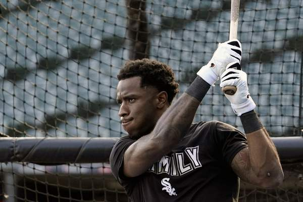 Chicago White Sox's Tim Anderson warms up during a baseball workout for the American League Divisions Series, Saturday, Oct. 9, 2021, in Chicago. The White Sox host the Houston Astros in Game 3 on Sunday.(AP Photo/Nam Y. Huh)