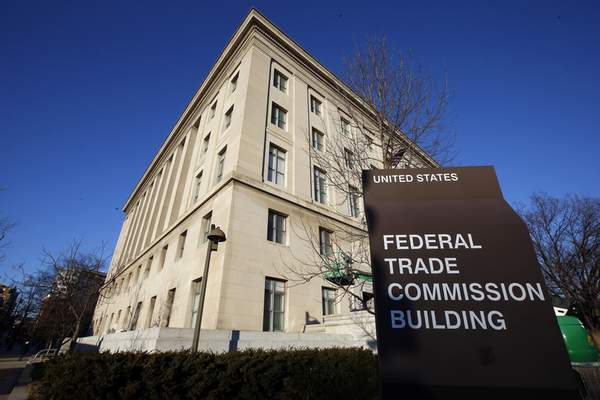 FILE - This Jan. 28, 2015, file photo, shows the Federal Trade Commission building in Washington. (AP Photo/Alex Brandon, File)