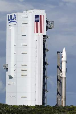 United Launch Alliance Atlas V rocket with the Lucy spacecraft aboard is rolled out of the Vertical Integration Facility to the launch pad at Space Launch Complex 41 at the Cape Canaveral Space Force Station, Thursday, Oct. 14, 2021, in Cape Canaveral, Fla. (AP Photo/John Raoux)
