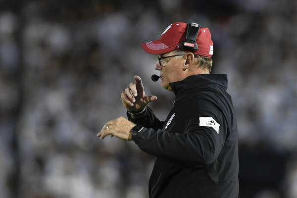 Indiana head coach Tom Allen watches the action in the second quarter against Penn State during their NCAA college football game in State College, Pa., on Saturday, Oct. 2, 2021. Penn State defeated Indiana 24-0. (AP Photo/Barry Reeger)