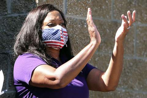 Lawsuits-Rape Victims FILE- In this Aug. 20, 2020, file photo, state Rep. Tavia Galonski, D-Akron, applauds during a United Steelworkers Local 2 rally for good jobs in response to President Trump's call to boycott Goodyear, a major Akron-based employer, in Akron, Ohio. House Democrats are urging urged passage of legislation that would remove time limits restricting when sexual assault victims could file lawsuits against their perpetrator. (Karen Schiely/Akron Beacon Journal via AP) (Karen Schiely MBR)