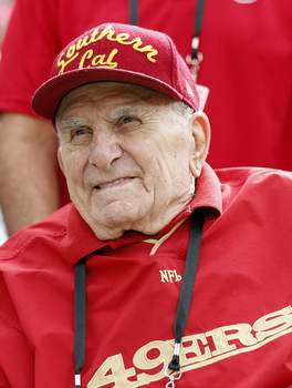 Obit Salata Football FILE - In this Sunday, Oct. 21, 2018, file photo, former San Francisco 49ers player Paul Salata is seen before an NFL football game between the 49ers and the Los Angeles Rams in Santa Clara, Calif. Salata, who created the Mr. Irrelevant Award that honors the last selection of the NFL draft, after playing football at Southern California and in the NFL and Canadian Football League, died Saturday, Oct. 16, 2021. He was 94. (AP Photo/Josie Lepe, File) (Josie Lepe FRE)