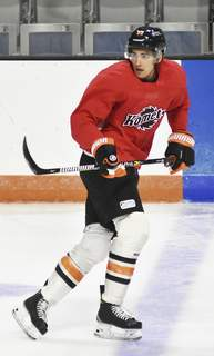 Katie Fyfe   The Journal Gazette  Shawn Boudrias, who will be expected to be one of the Komets' better wingers, practices at Memorial Coliseum.