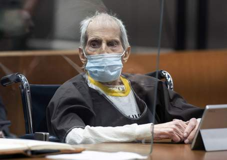 Robert Durst Murder Trial New York real estate scion Robert Durst, 78, sits in the courtroom as he is sentenced to life in prison without chance of parole, Thursday, Oct. 14, 2021 at the Airport Courthouse in Los Angeles. New York real estate heir Robert Durst was sentenced Thursday to life in prison without chance of parole for the murder of his best friend more that two decades ago. (Myung J. Chung/Los Angeles Times via AP, Pool) (Myung J. Chun MBR)