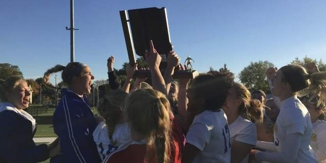 Dylan Sinn   The Journal Gazette  Homestead girls soccer celebrates its semistate victory over South Bend St. Joseph in penalty kicks Saturday. The Spartans won their fifth semistate championship.