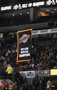 Photos by Katie Fyfe | The Journal Gazette A banner commemorating the Komets' 2021 Kelly Cup championship was raised before Saturday's season opener at the Coliseum.