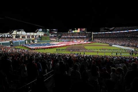 World Series Baseball Players line up before Game 1 in baseball's World Series between the Houston Astros and the Atlanta Braves Tuesday, Oct. 26, 2021, in Houston. (AP Photo/Eric Gay) (Eric Gay STF)