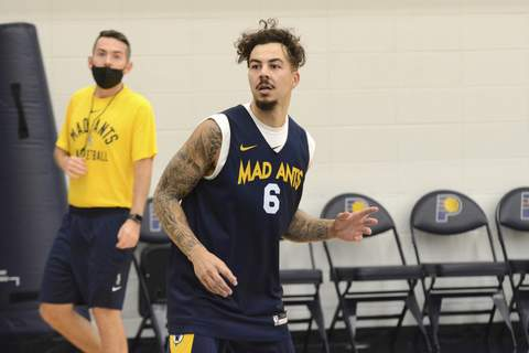 Mad Ants Gabe York, one of the many guards in training camp with the Mad Ants, practices Tuesday in Indianapolis.