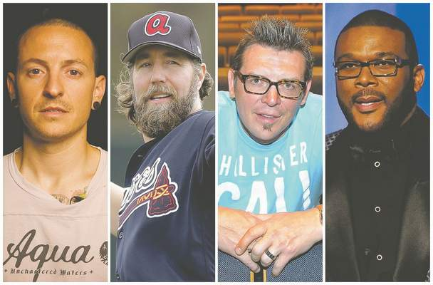 Associated Press: This combination of 2008-2017 photos shows Linkin Park co-lead vocalist Chester Bennington, Atlanta Braves pitcher R.A. Dickey, former NHL star Theo Fleury and film director Tyler Perry. They are among the male celebrities who have disclosed they were victims of sexual abuse.