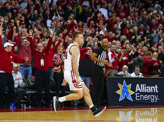 Andy Manis | Associated PressWisconsin's Brad Davison (34) reacts after hitting the game-winning 3-point basket against Maryland in the final seconds of an NCAA college basketball game Tuesday, in Madison, Wis. Wisconsin upset Maryland 56-54.