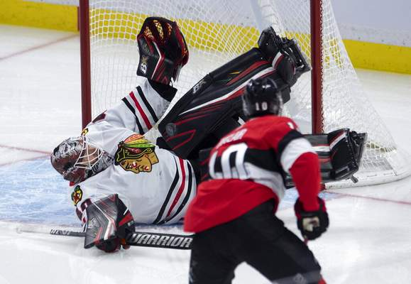 Adrian Wyld/The Canadian Press   Associated PressChicago Blackhawks goaltender Robin Lehner sprawls across the crease to make a save on Ottawa Senators left wing Anthony Duclair (10) during second period NHL hockey action in Ottawa, Tuesday.