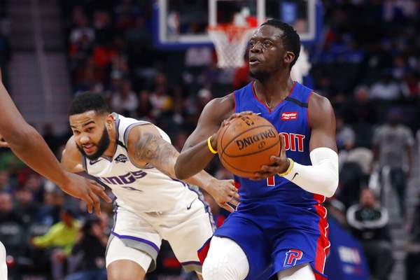 Carlos Osorio | Associated PressDetroit Pistons guard Reggie Jackson (1) is defended by Sacramento Kings guard Cory Joseph during the first half of an NBA basketball game, Wednesday, in Detroit.