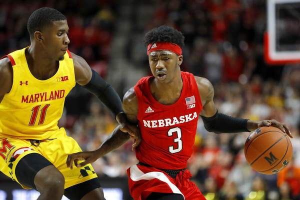 Julio Cortez | Associated PressNebraska guard Cam Mack (3) drives against Maryland guard Darryl Morsell (11) during the first half of an NCAA college basketball game, Tuesday, in College Park, Md.