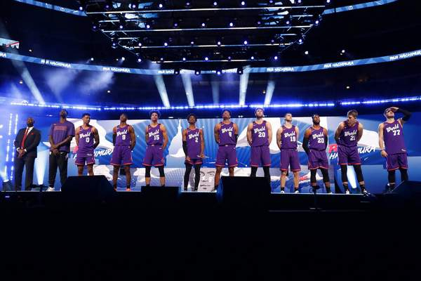 Nam Y. Huh | Associated PressThe World Team is introduced at the NBA Rising Stars basketball game in Chicago, Friday.