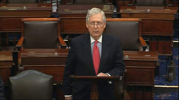 Senate Television | Associated PressIn this image from video, Senate Majority Leader Mitch McConnell, R-Ky., speaks on the Senate floor at the U.S. Capitol in Washington, Wednesday.