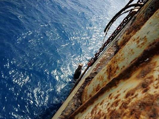Associated Press This 2019 image provided by maritime security firm I.R. Consilium shows deterioration on an oil tanker moored off a Red Sea port.