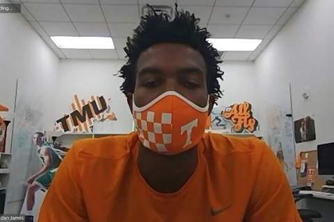 Teresa Walker via Zoom | Associated PressThis image taken from video shows Tennessee sophomore basketball player Josiah-Jordan James, Friday. The Big Ten decision to wipe more than three dozen nonconference football games off the schedule this year has sent a ripple of fear through athletic departments across much of the country.
