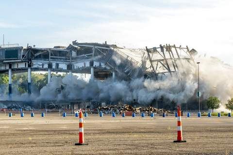 David Guralnick/Detroit News | Associated PressThe Palace of Auburn Hills undergoes a controlled demolition in Auburn Hills, Mich., on Saturday. Opened in 1988, the multi-use stadium was the home of the Detroit Pistons as well as numerous concerts and sporting events.