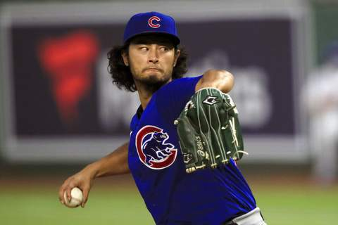 Orlin Wagner | Associated PressChicago Cubs starting pitcher Yu Darvish delivers to a Kansas City Royals batter during the fifth inning of a baseball game at Kauffman Stadium in Kansas City, Mo., Wednesday.