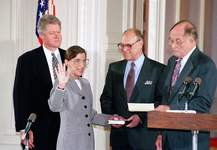 Marcy Nighswander, File | Associated PressFILE - In this Aug. 10, 1993, file photo, Supreme Court Justice Ruth Bader Ginsburg takes the court oath from Chief Justice William Rehnquist, right, during a ceremony in the East Room of the White House in Washington. Ginsburg's husband Martin holds the Bible and President Bill Clinton watches at left. The Supreme Court says Ginsburg has died of metastatic pancreatic cancer at age 87.