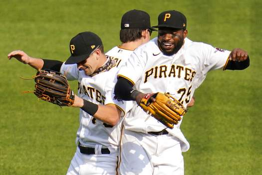 Gene J. Puskar | Associated PressPittsburgh Pirates outfielders, from left, Jared Oliva, Bryan Reynolds and Gregory Polanco (25) celebrate the final out of a 7-0 win over the Chicago Cubs in a baseball game in Pittsburgh, Thursday.