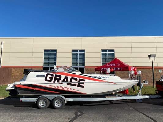 Courtesy  Grace College is trying a new recruitment approach this fall by bringing its boat to high school parking lots.