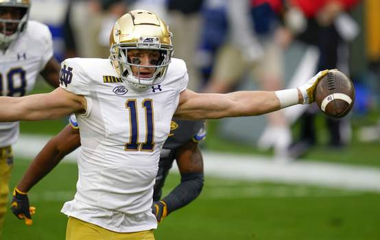 Keith Srakocic   Associated PressNotre Dame wide receiver Ben Skowronek (11) celebrates as he goes in the end zone past Pittsburgh defensive back A.J. Woods (25) for a touchdown after making a catch during the first half of an NCAA college football game, Saturday, in Pittsburgh.