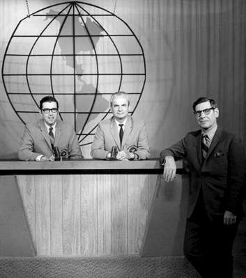 File Pictured during the early days of WKJG-TV are, from left, Dick Florea, Jack Gray and Hilliard Gates.