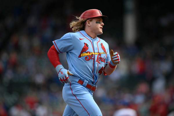 Associated Press Harrison Bader rounds third base after hitting a home run Saturday in Chicago.