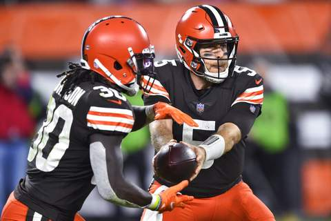 David Richard   Associated PressCleveland Browns quarterback Case Keenum (5) hands the ball off to running back D'Ernest Johnson (30) during the second half of the team's NFL football game against the Denver Broncos, Thursday, in Cleveland.